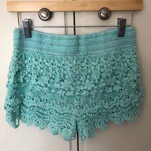 **$5 if bundled** Light BLUE crochet shorts